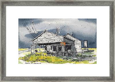 Framed Print featuring the mixed media Midway Texas Fillin' Station by Tim Oliver