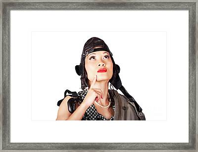 Military Female Pinup Model In Fighter Pilot Cap Framed Print by Jorgo Photography - Wall Art Gallery