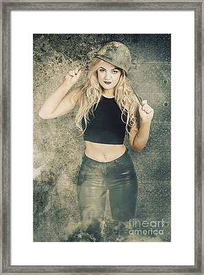 Military Pin Up Woman Preparing For Close Combat Framed Print by Jorgo Photography - Wall Art Gallery