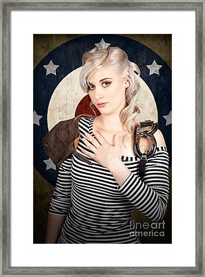 Military Pin Up Woman Taking Airplane Pilot Oath Framed Print by Jorgo Photography - Wall Art Gallery