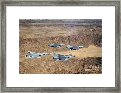 Military Planes Flying Over The Wadi Framed Print by Stocktrek Images