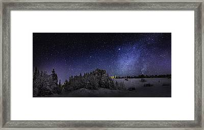 Milky Way Galaxy With Aurora Borealis Framed Print by Panoramic Images