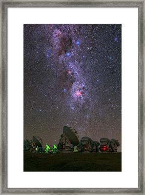 Milky Way Over Alma Telescopes Framed Print