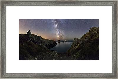 Milky Way Over Coastal Rocks Framed Print by Laurent Laveder