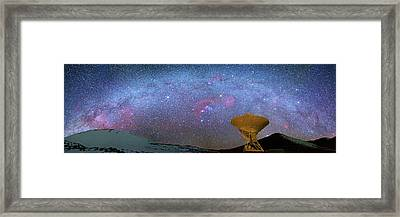Milky Way Over Telescopes On Hawaii Framed Print