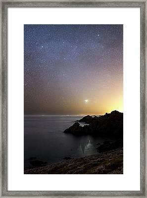 Milky Way Over The Coast Framed Print by Laurent Laveder