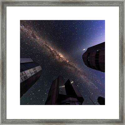 Milky Way Over The Very Large Telescope Framed Print by Babak Tafreshi