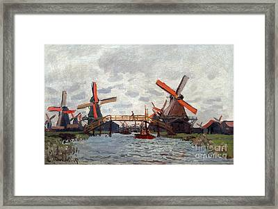 Mills At Westzijderveld Near Zaandam Framed Print by Claude Monet