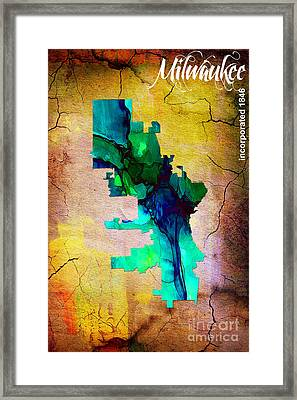 Milwaukee Map Watercolor Framed Print by Marvin Blaine