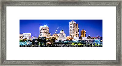 Milwaukee Skyline At Night Photo In Blue Framed Print