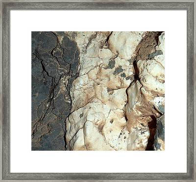 Mineral Veins On Mars Framed Print by Nasa/jpl-caltech/msss
