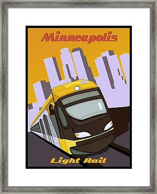 Minneapolis Light Rail Travel Poster Framed Print