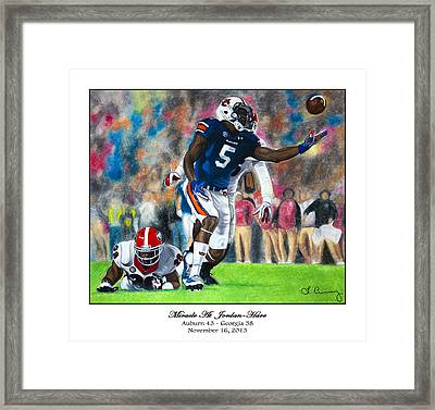 Miracle At Jordan-hare Framed Print by Lance Curry