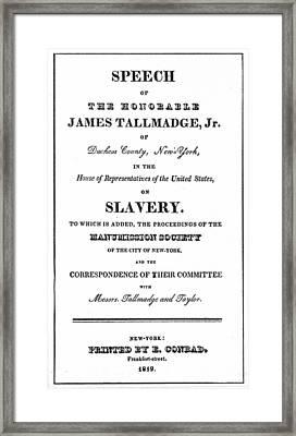 Missouri Compromise, 1820 Framed Print by Granger