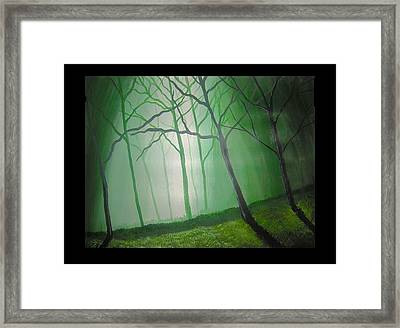 Misty Green Framed Print by Haleema Nuredeen