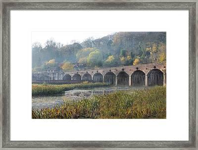 Misty Morning In Coalbrookdale Shropshire Framed Print by Liz  Callan