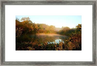 Misty Sunrise Framed Print by Angie Tirado