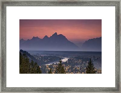 Misty Teton Sunset Framed Print