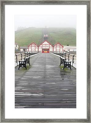 Misty View Of Victorian Pier  Redcar Framed Print by John Short