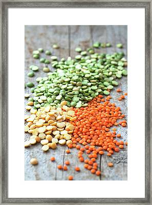 Mixed Selection Of Peas And Lentils Framed Print