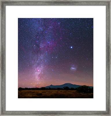 Mliky Way And Large Magellanic Cloud Framed Print