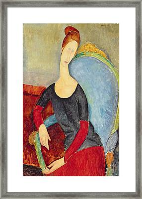 Mme Hebuterne In A Blue Chair Framed Print by Celestial Images