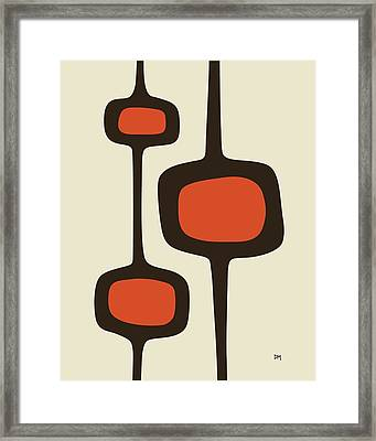 Mod Pod Two Orange With Brown Framed Print by Donna Mibus