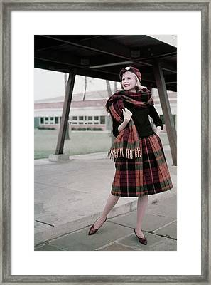 Model Standing Underneath A Breezeway In A Plaid Framed Print