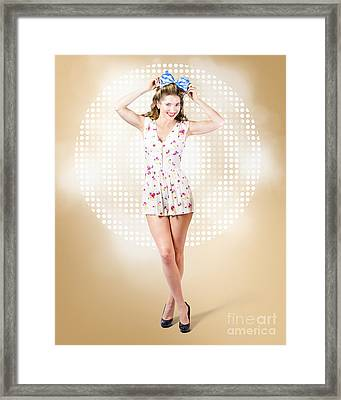 Modelling Pinup Girl Wearing Bow Hair Accessory Framed Print by Jorgo Photography - Wall Art Gallery