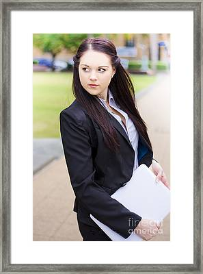 Modern Business Woman With Laptop Framed Print