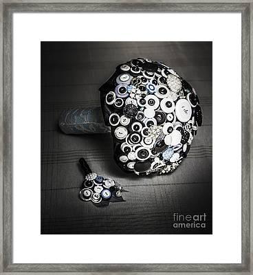 Modern Button Design Wedding Bouquet Framed Print by Jorgo Photography - Wall Art Gallery