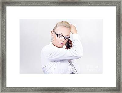 Modern Executive Businesswoman On Smartphone Framed Print by Jorgo Photography - Wall Art Gallery