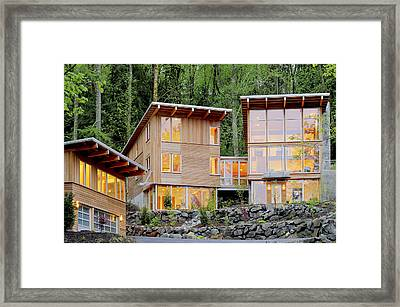 Modern House In Woods Framed Print by Will Austin