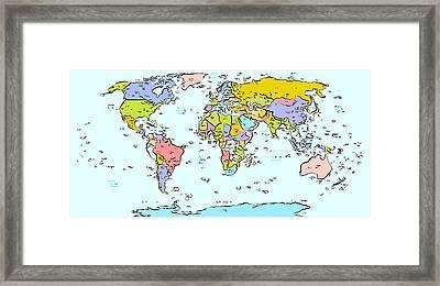 Modern World Map Framed Print