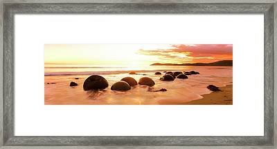 Moeraki Boulders On The Beach Framed Print by Panoramic Images