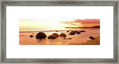 Moeraki Boulders On The Beach Framed Print