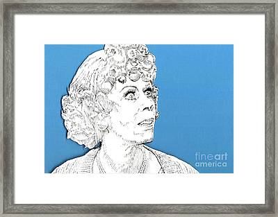 Framed Print featuring the mixed media Momma On Blue by Jason Tricktop Matthews