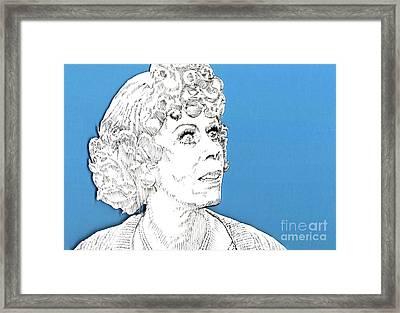 Momma On Blue Framed Print