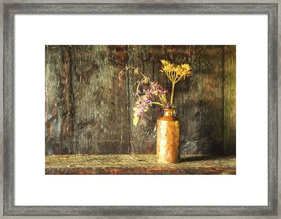 Monet Style Digital Painting Retro Style Still Life Of Dried Flowers In Vase Against Worn Woo Framed Print by Matthew Gibson