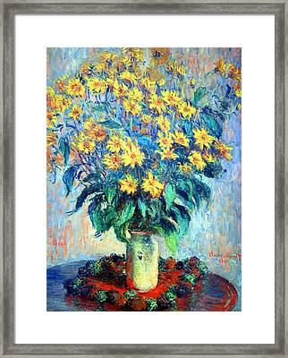 Framed Print featuring the photograph Monet's Jerusalem  Artichoke Flowers by Cora Wandel