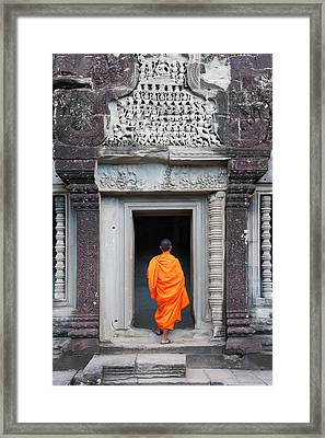 Monk At Angkor Thom, Cambodia, A Unesco Framed Print by Keren Su