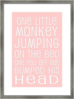 Monkey Jumping On The Bed Framed Print by Jaime Friedman
