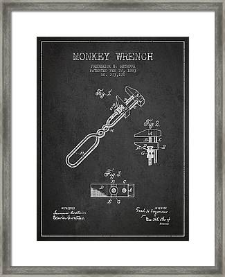 Monkey Wrench Patent Drawing From 1883 Framed Print by Aged Pixel