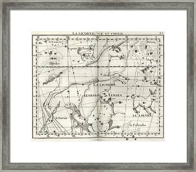 Monoceros, Canis Major And Minor Framed Print by U.S. Naval Observatory Library