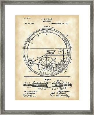 Monocycle Patent 1894 - Vintage Framed Print by Stephen Younts
