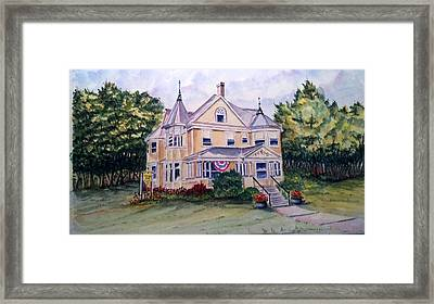 Framed Print featuring the painting Monroe Inn Auburn Maine Sold by Richard Benson