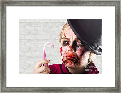 Monster Holding Sad Toothbrush. Rotting Teeth Framed Print by Jorgo Photography - Wall Art Gallery