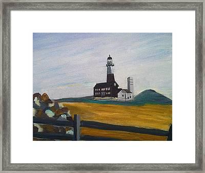 Montauk Lighthouse Fence Framed Print