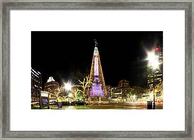 Monument Circle Christmas Tree Framed Print by Twenty Two North Photography
