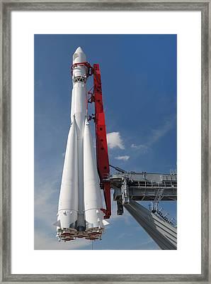 Monument Of Space Rocket  Framed Print by Mikhail Olykaynen